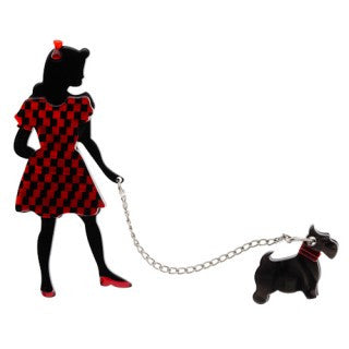 Erstwilder Brooch - Walking Wonders - - Black/Red -  Girl with Scottie
