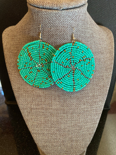 Maasai Turquoise Round Earrings