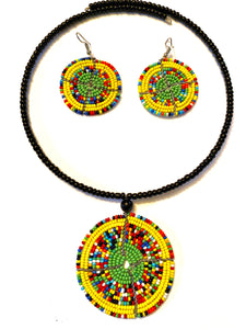 Maasai Green Beaded Circle Necklace Set