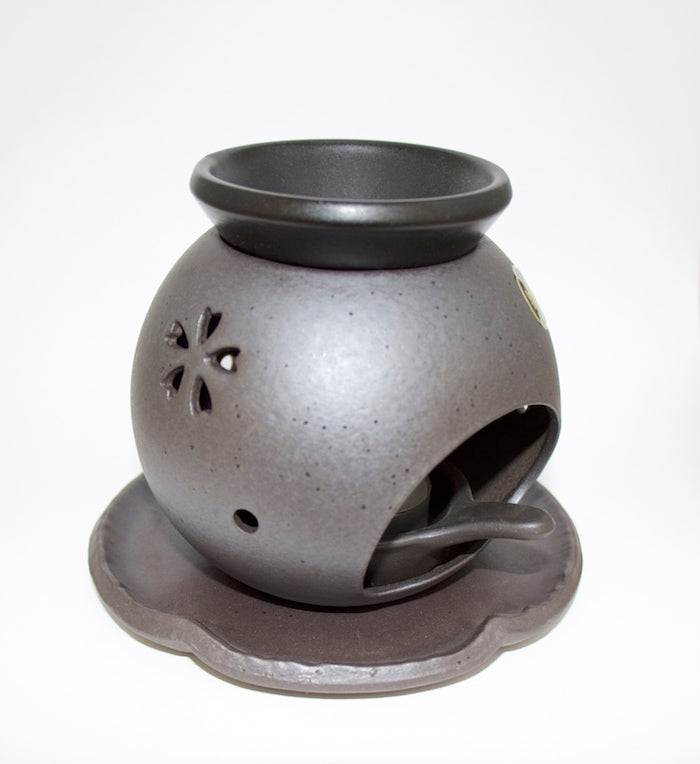 Cha Koro Tokoname - Tea-Incense Burner (Black / Sakura Sukashi)