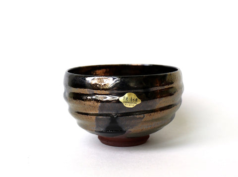Matcha Bowl Kyo (Gold and Black / Kokukinsai style)