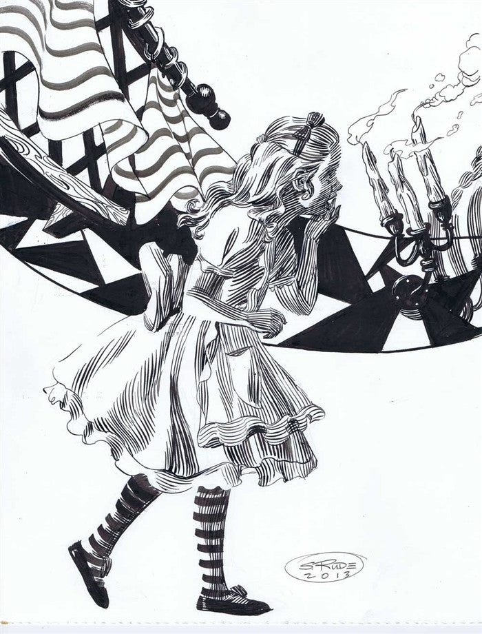 Alice Running Pen and Ink