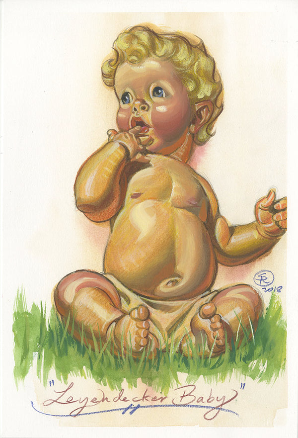 J.C. Leyendecker New Years Baby Study Watercolor and Prismacolor Painting