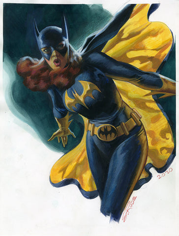 Batgirl Watercolor Colored Pencil Painting