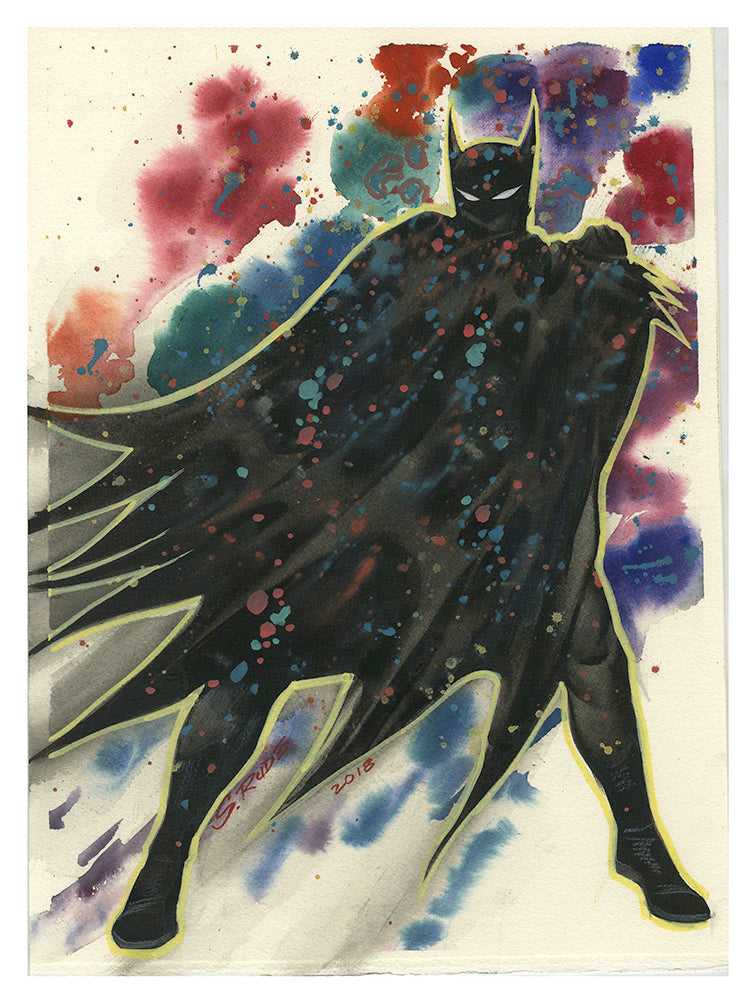Batman Watercolor Splatter Painting