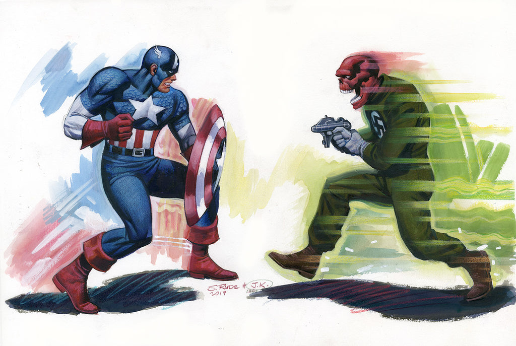 Captain America & Red Skull Watercolor & Pastel Original Painting