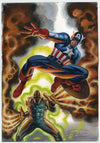 """Cap and Villain"" Watercolor & Colored Pencil Original Painting Captain America"