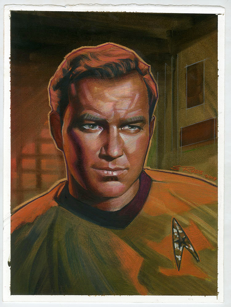 Captain Kirk Watercolor & Prismacolor Study Painting