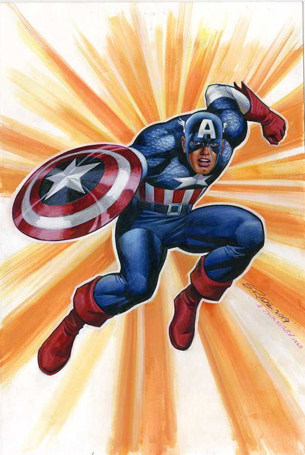 Captain America Watercolor/Prismacolor Original Painting