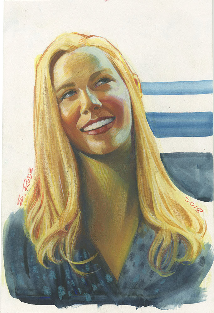 Karen Page Daredevil Portrait Watercolor Painting