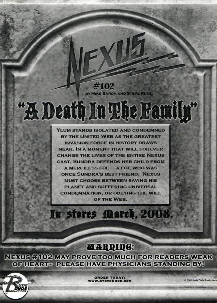 Nexus Death in the Family Postcard