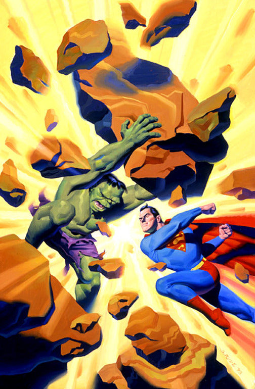 Hulk vs Superman Original Oil Painting