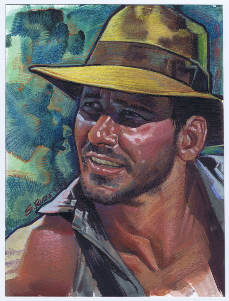 Indiana Jones Painting Watercolor & Prismacolor Painting