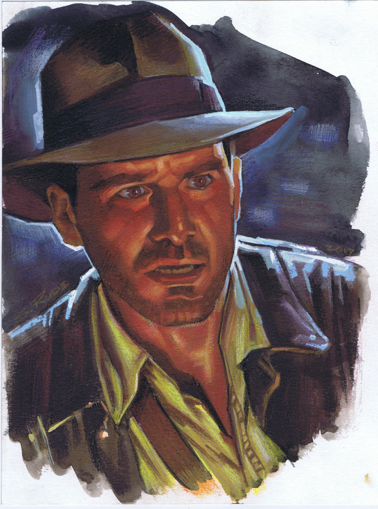 Indiana Jones Painting Watercolor & Prismacolor Painting #2