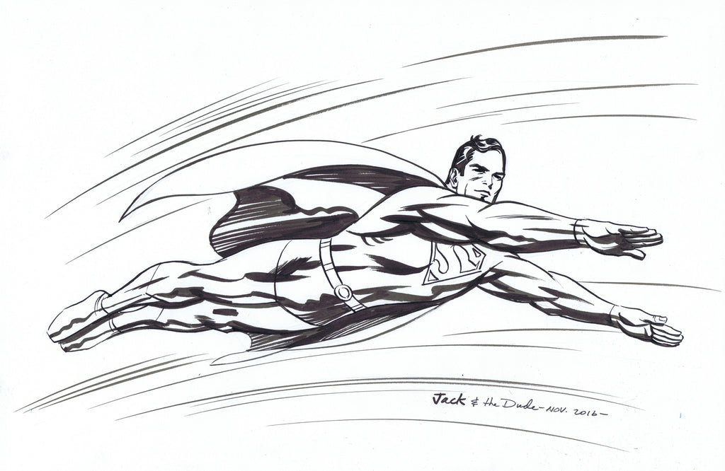 Superman after Jack Kirby Pen and Ink Sketch