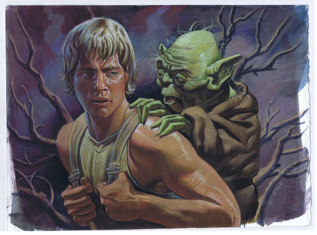 "Luke Skywalker & Yoda ""There is No Try"" Painting Watercolor & Prismacolor Painting"
