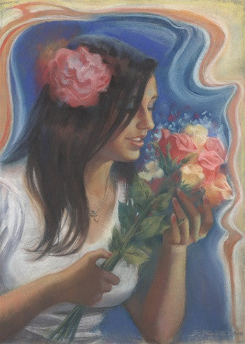 """Breeana with Flowers"" Original Pastel Painting"