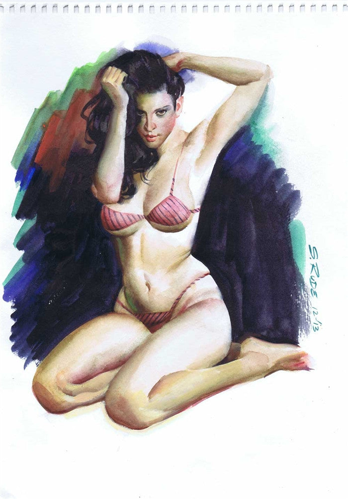 Watercolor Pinup