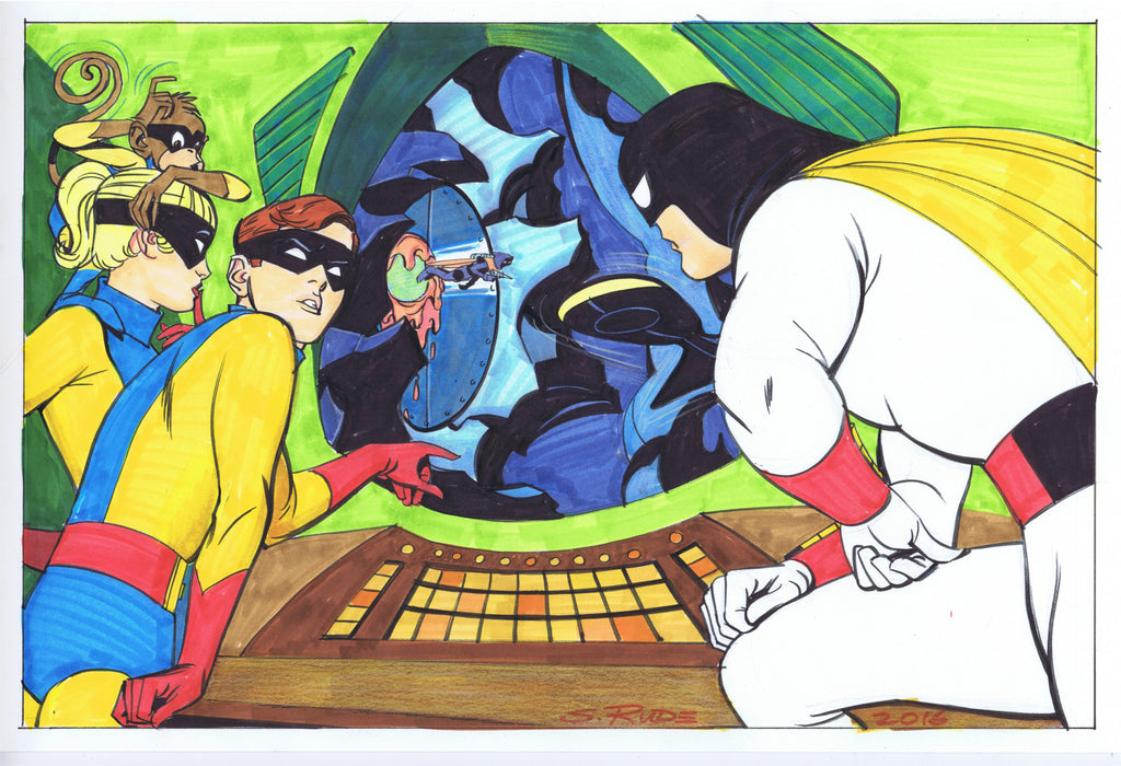 Space Ghost Color Copic Marker Sketch 11 x 17""