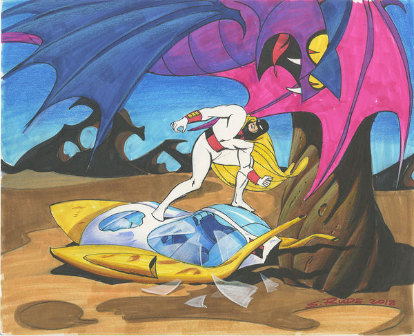 Space Ghost Color Copic Marker & Watercolor Sketch 11 x 14""