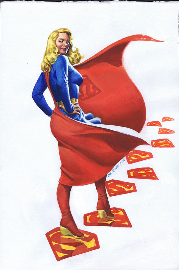 Supergirl DC Promo Watercolor Painting (2)