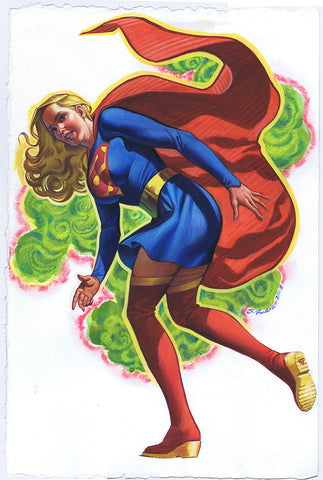 Supergirl DC Promo Watercolor Painting