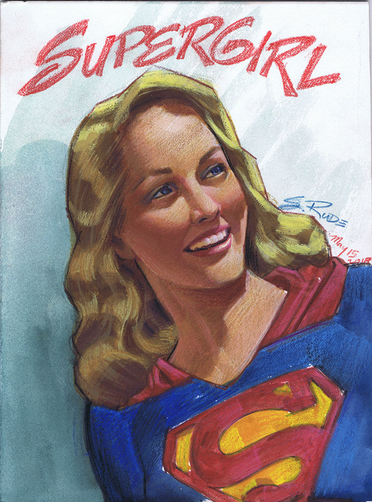 Supergirl Watercolor Portrait