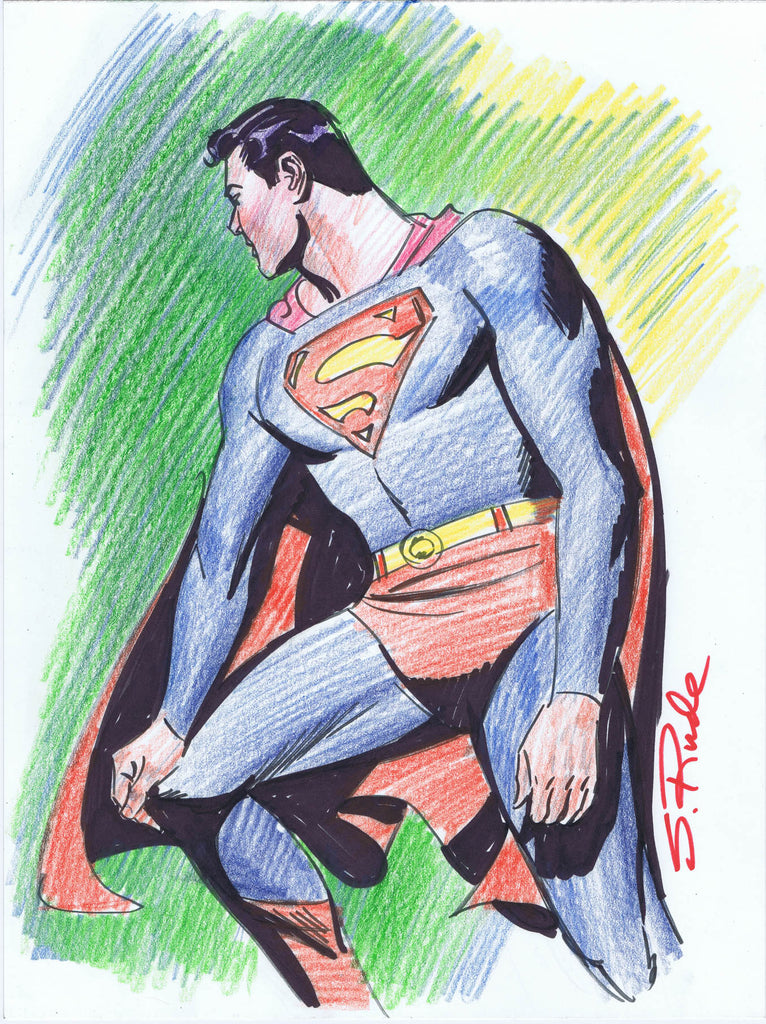 Superman Copic Marker Sketch with Prismacolor Pencil