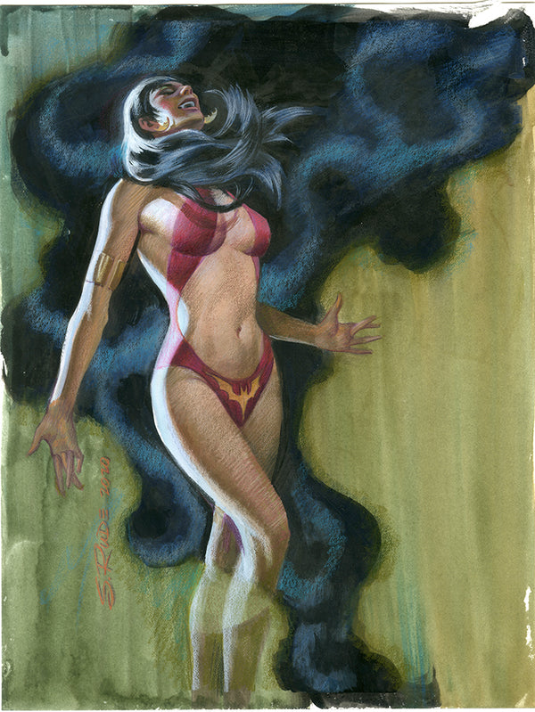 Vampirella Watercolor Colored Pencil Painting