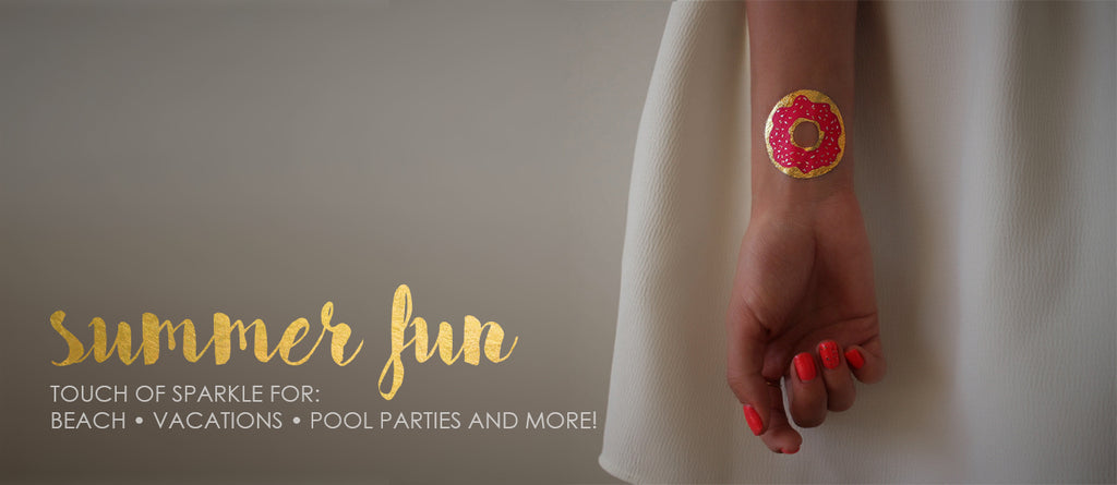 summer fun flash tattoo collection for beach and pool parties