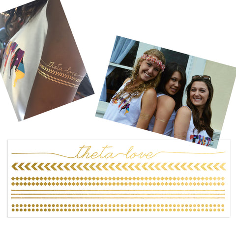 sorority bid day and game night swag ideas, sorority temporary tattoo, sorority custom temporary tattoos, sorority custom flash tattoos, sorority flash tattoos, sorority custom gold tattoos