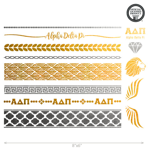 alpha delta Pi soririty custom personalized metallic temporary tattoo in a flash