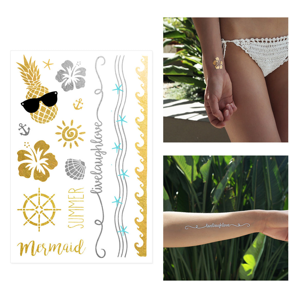 flash tattoo set Hawaiian flowers, cool pineapple glasses, sun, anchors, shells gold and silver and turquoise