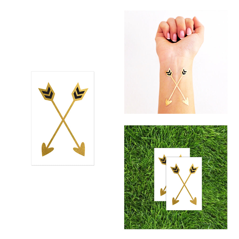 crossed arrows hearts tribal flash tattoo, metallic gold and black temporary tattoo
