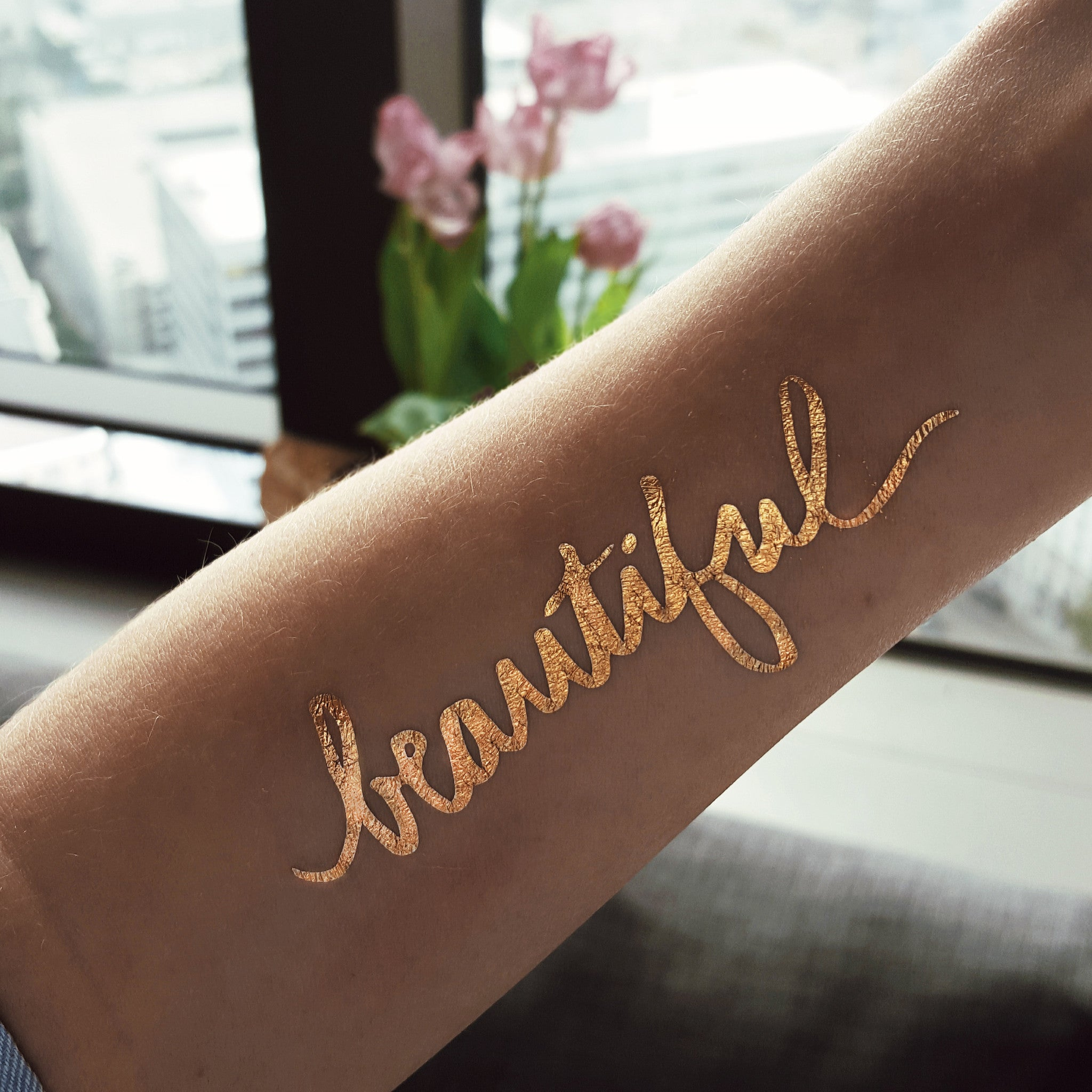 Gold Tattoo Ink: Beautiful Script Metallic Temporary Flash Tattoo