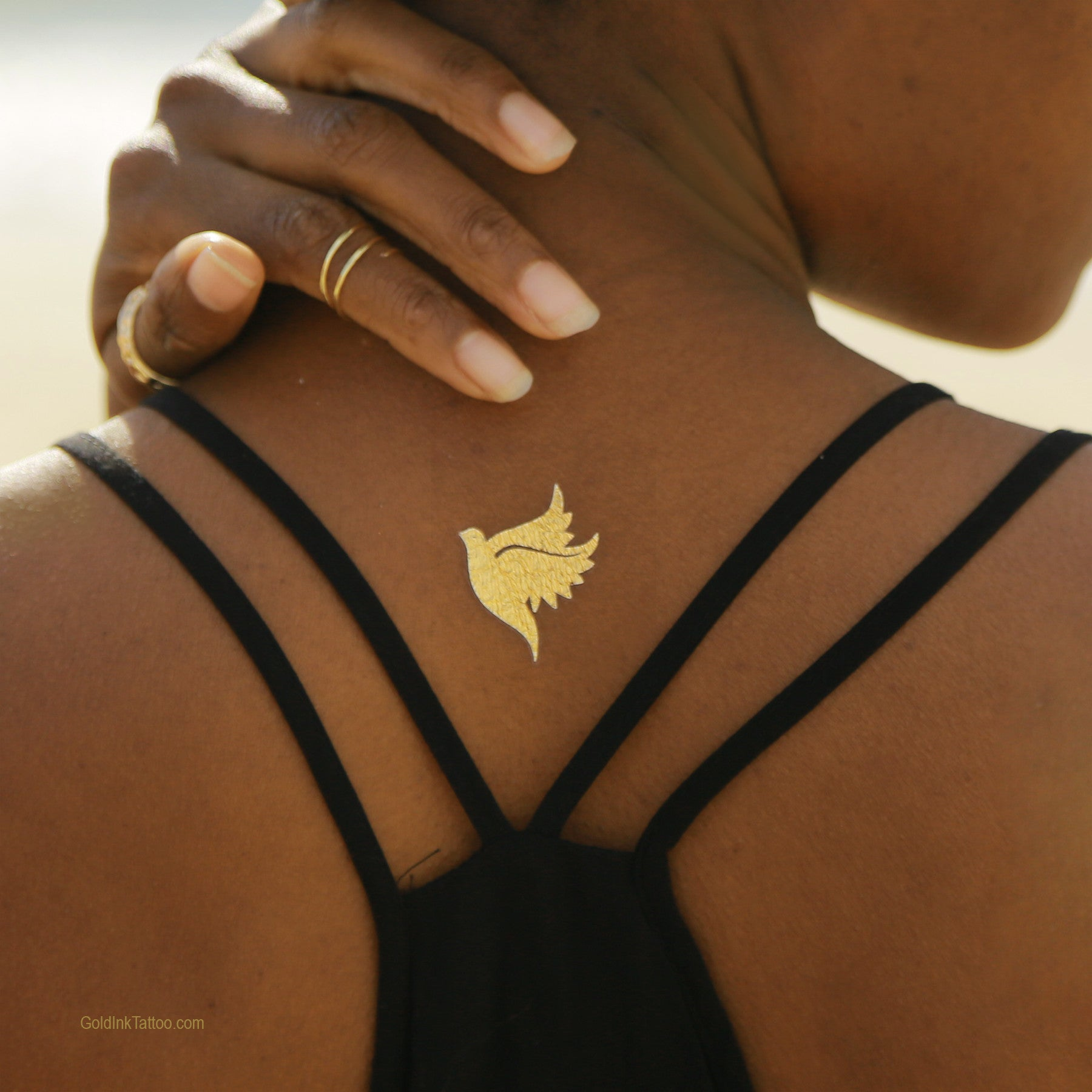 Perforated Greek Wings Metallic Gold Temporary Tattoo,Flash Tattoo ...