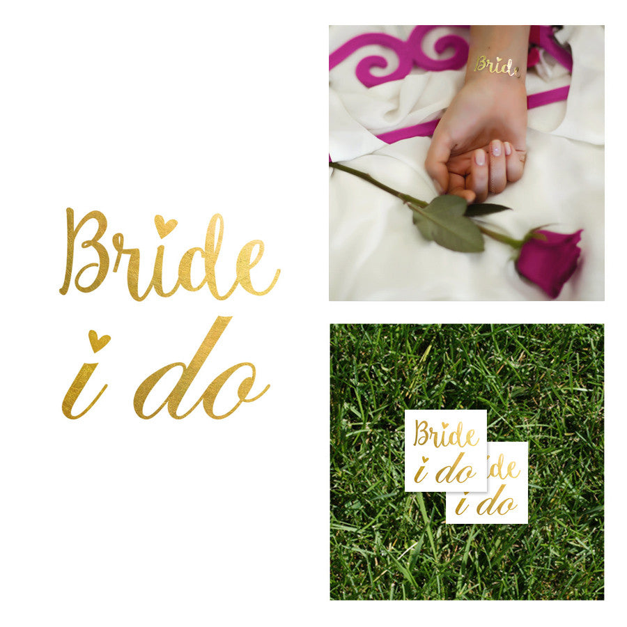 wedding metallic temporary gold silver tattoo i do bride tribe