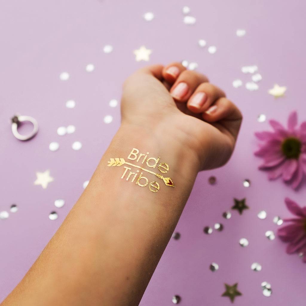 Bride Tribe Gold Metallic Temporary Tattoo | Bachelorette Party Favors | Bridesmaid Wedding Tattoo | Flash Tattoo | Hen Bridal Party Gift