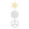 Sacred Geometry Temporary Tattoo Pack, Sacred Geometry Flash Tattoo Gold and Silver