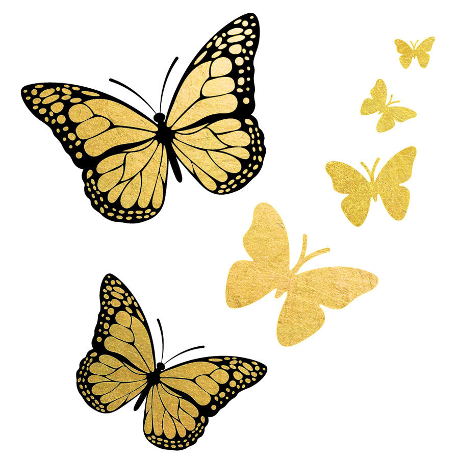 Gold and black butterfly monarch flash temporary metallic for Black gold tattoo