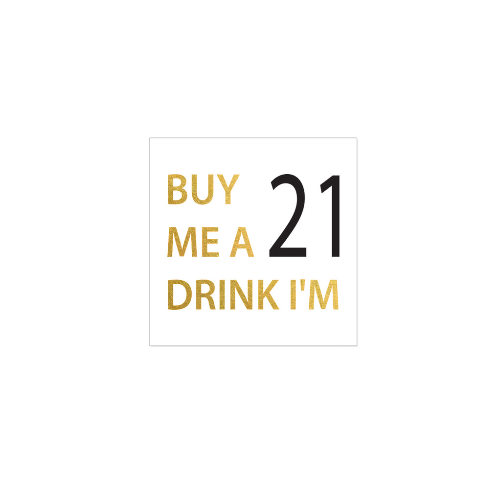 21st birthday party temporary tattoo, metallic gold flash tattoo, birthday tattoo silver, buy me a drink 21 tattoo