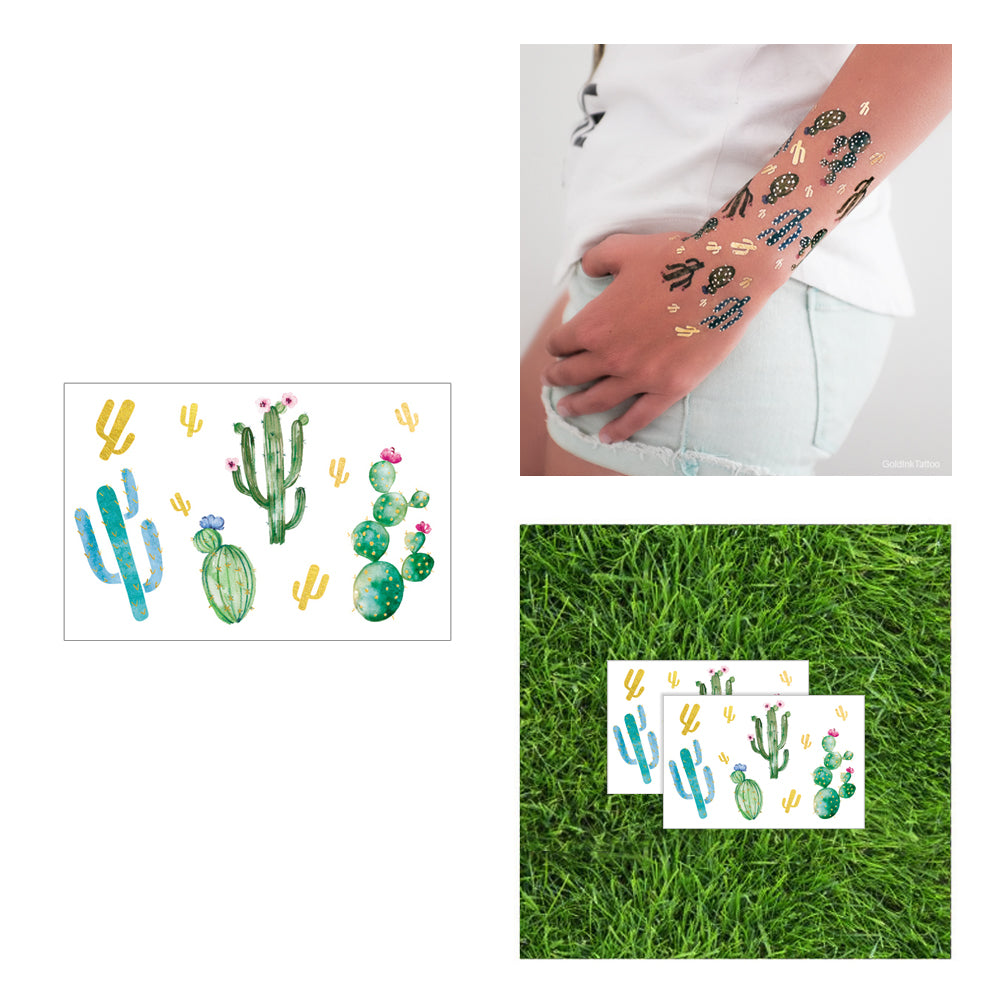 cactuses temporary metallic tattoo pack, desert palm springs party idea