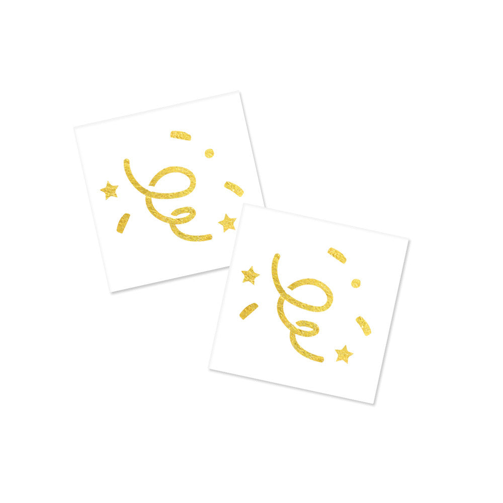 glowing gold confetti metallic tattoos, flash tattoos party