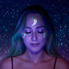 crescent lunar love star moon eclipse temporary tattoo flash metalic silver glow in dark under uv light fluorescent