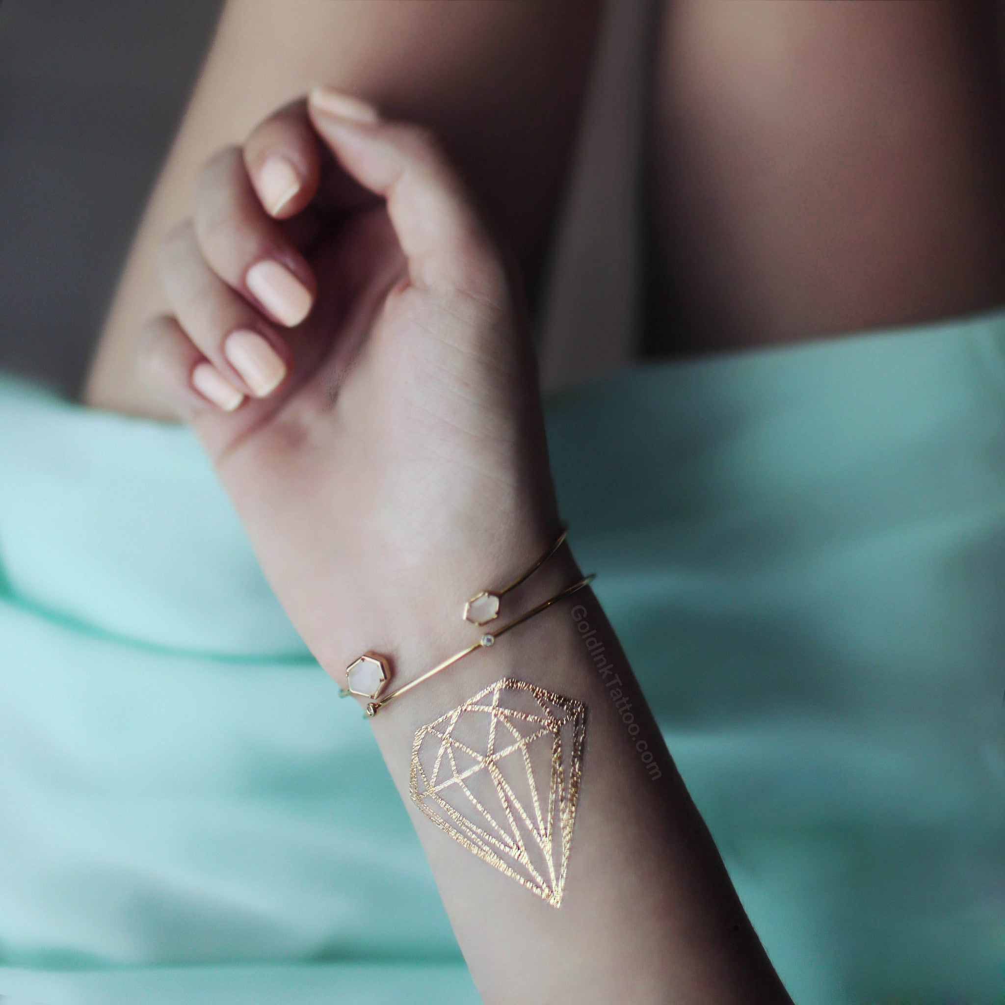Gold Diamond Flash Metallic Tattoo for Bride | Gold Ink Tattoo
