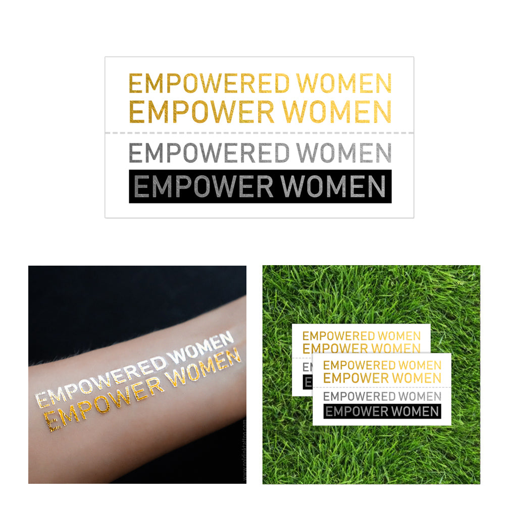 Empowered Women Empower Women Flash tattoo, inspirational metallic tattoo girlboss, gold metallic temporary tattoo women leader, bossladies temporary metallic gold tattoo, girl power tattoo