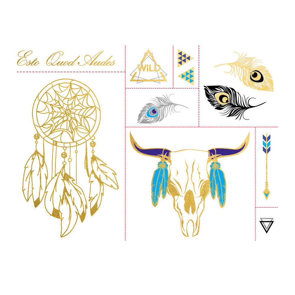 Esto Quod Audes - Native Metallic Temporary Flash Tattoo Set