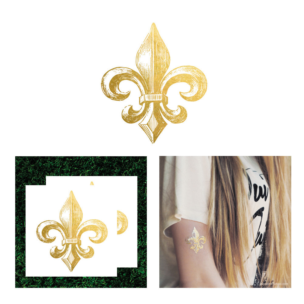 fleur de lis gold metallic tattoo, fleur de lis temporary tattoo, flash tattoo french lilly flower floral