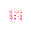 Girls Girls Girls Neon Sign Tattoo, Metallic temporary flash tattoo