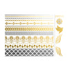greek bracelets and wings flash tattoo, metallic temporary jewelry tattoo, gold and silver